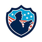 American Security Guard With Police Dog Shield Print by Aloysius Patrimonio