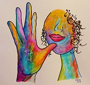Pop Mixed Media Metal Prints - American Sign Language . . .  MOTHER Metal Print by Eloise Schneider