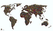 World Map Canvas Mixed Media Prints - American Sign Language ... I LOVE YOU WORLD map  Print by Eloise Schneider