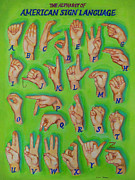 Asl Framed Prints - American Sign Language Alphabet Framed Print by Veronique Cheney