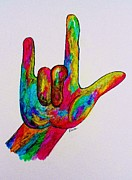 Finger Mixed Media Prints - American Sign Language I LOVE YOU Print by Eloise Schneider