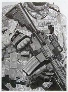 Iraq Drawings Prints - American Soldier in Baghdad Print by Skywolf UK