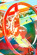 Man Cave Mixed Media Metal Prints - American Steel Steering Wheel Pop Art Metal Print by AdSpice Studios