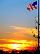 Proudly Waving Framed Prints - American Sunset Framed Print by Renee Trenholm