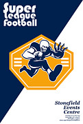 Ball Digital Art - American Super League Football Poster Retro by Aloysius Patrimonio