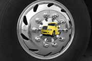 Hubcap Framed Prints - American Super Truck Mirrored In A Shiny Hubcap Framed Print by Christian Lagereek