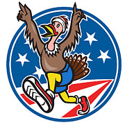 Turkey Posters - American Turkey Run Runner Cartoon Poster by Aloysius Patrimonio