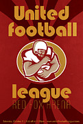 Ball Digital Art - American United Football League Poster Retro by Aloysius Patrimonio