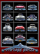 Bumpers Prints - American Vintage Automobile Grills Print by Larry Butterworth