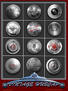 Automobiles Digital Art Framed Prints - American Vintage Automobile Hubcaps Framed Print by Larry Butterworth