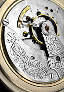 Ticking Framed Prints - American Waltham Watch Company pocket watch Framed Print by Jim Hughes