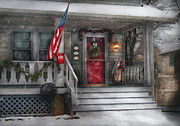 Snowing Posters - Americana - A Tribute to Rockwell - Westfield NJ Poster by Mike Savad