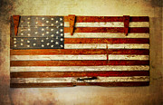 Pledge Of Allegiance Posters - Americana Barn Door Poster by Robin Dickinson