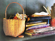 Baskets Framed Prints - Americana - Books Basket and Quills Framed Print by Susan Savad
