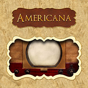 Americana Art Framed Prints - Americana button Framed Print by Mike Savad