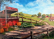 Thomas Benton Prints - Americana Farm Autumn Scene Print by Lee Piper