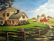 Lee Piper Art Prints - Americana Farm Scene Folk Art Rural Ranch Print by Lee Piper