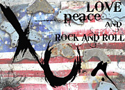 Red White And Blue Mixed Media Posters - Americana Love Peace and Rock and Roll Poster by Anahi DeCanio