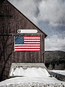 Americana Photo Metal Prints - Americana Patriotic Barn Metal Print by Edward Fielding
