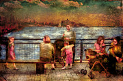 Nostalgic Digital Art - Americana - People - Jewish Families by Mike Savad