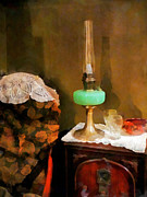 Hurricane Lamp Photos - Americana - Still Life With Hurricane Lamp by Susan Savad