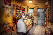 Urban Scenes Art - Americana - Store - At the local grocers by Mike Savad