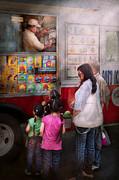Americana - Vendor - Serving Chocolate Ice Cream Print by Mike Savad