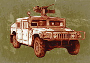 Fine American Art Mixed Media Prints - Americans new army car - Hummer stylised art sketch poster Print by Kim Wang