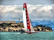 Historical Landmark Digital Art Metal Prints - Americas Cup and Alcatraz ll Metal Print by Michelle Calkins