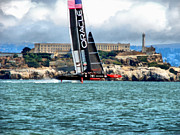 Historical Landmark Digital Art Metal Prints - Americas Cup and Alcatraz Metal Print by Michelle Calkins