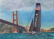 Bay Area Paintings - Americas Cup by the Golden Gate by James Lopez