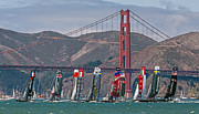 Kate Brown Framed Prints - Americas Cup Catamarans at the Golden Gate Framed Print by Kate Brown