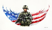 Flag Drawings Prints - Americas Guardian Angel Print by Andrew Read