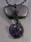 Jordan Jewelry - Amethyst and Black Coriolis Pendant by Heather Jordan