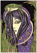 Healing Drawings Metal Prints - Amethyst Metal Print by Anita Inverarity