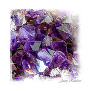 Fine Jewelry Prints - Amethyst Crystals 1. Elegant KnickKnacks Print by Jenny Rainbow