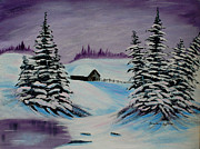 Snowy Evening Painting Posters - Amethyst Evening after Ross Poster by Barbara Griffin
