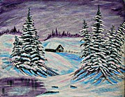 Little Cabin Prints - Amethyst Evening - Purple Sky - Snow - Shadows Print by Barbara Griffin