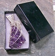 Jordan Jewelry - Amethyst Geode Shard Druzy Pendant in Silver by Heather Jordan