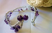 Wire Jewelry - Amethyst roller coaster by Maria Mccullough