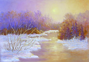 Snow Scene Pastels Metal Prints - Amethyst Winter Metal Print by Christine Bass