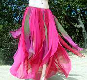 Dance Tapestries - Textiles - Ameynra bellydance fashion chiffon skirt burgundy green  by Ameynra Fashion