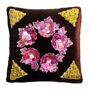 Golden Tapestries - Textiles - Ameynra design exotic pillow with sequin flowers and jewels by Ameynra Fashion