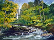 Waterfalls Paintings - Amicalola Falls Painting by Sally Simon