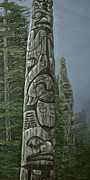 Trees Reliefs Prints - Amid The Mist - Totems Print by Elaine Booth-Kallweit