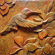 Birds Reliefs Prints - Amid the Plumeria Print by Jeremiah Welsh