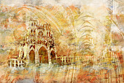 Rebuilt Prints - Amiens Cathedral Print by Catf