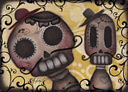 Halloween Folk Art Posters - Amiguitos Poster by  Abril Andrade Griffith