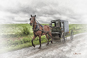 Horse And Buggy Digital Art Posters - Amish Country Poster by Linda  Blair