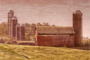 Silos Posters - Amish Farm Poster by Debra and Dave Vanderlaan
